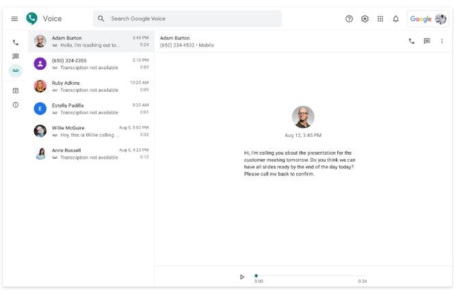 Google Voice messages screenshot