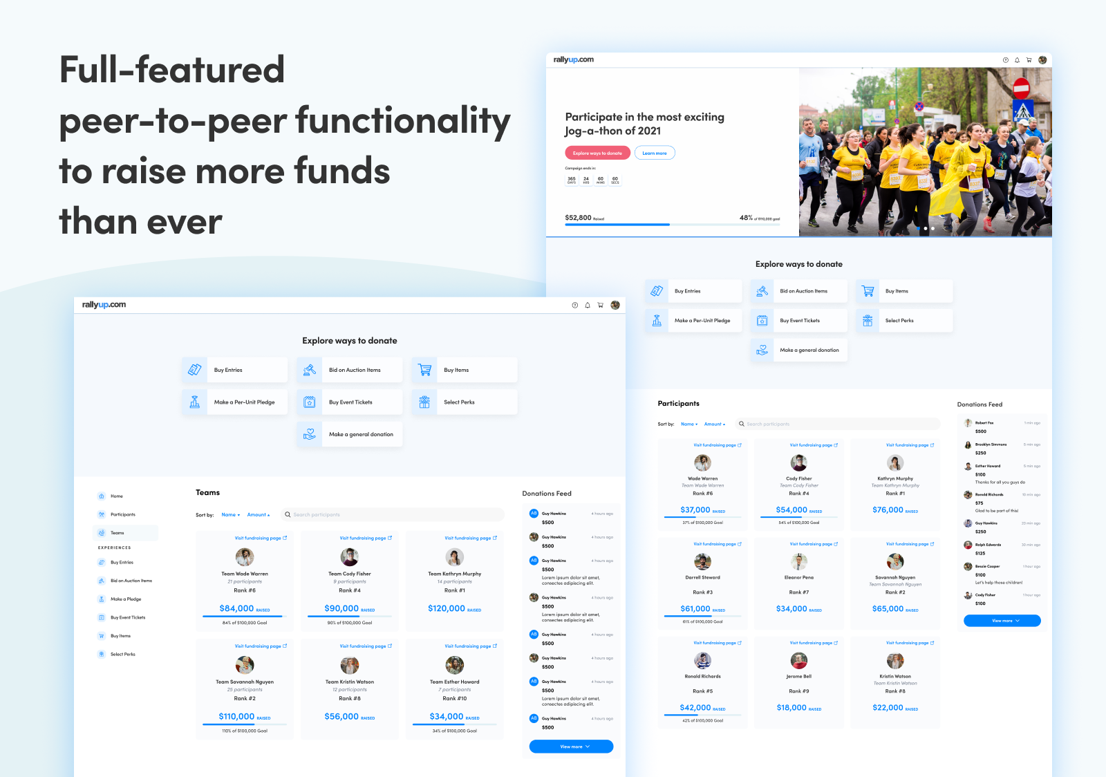 Full-featured peer-to-peer functionality to raise more funds than ever