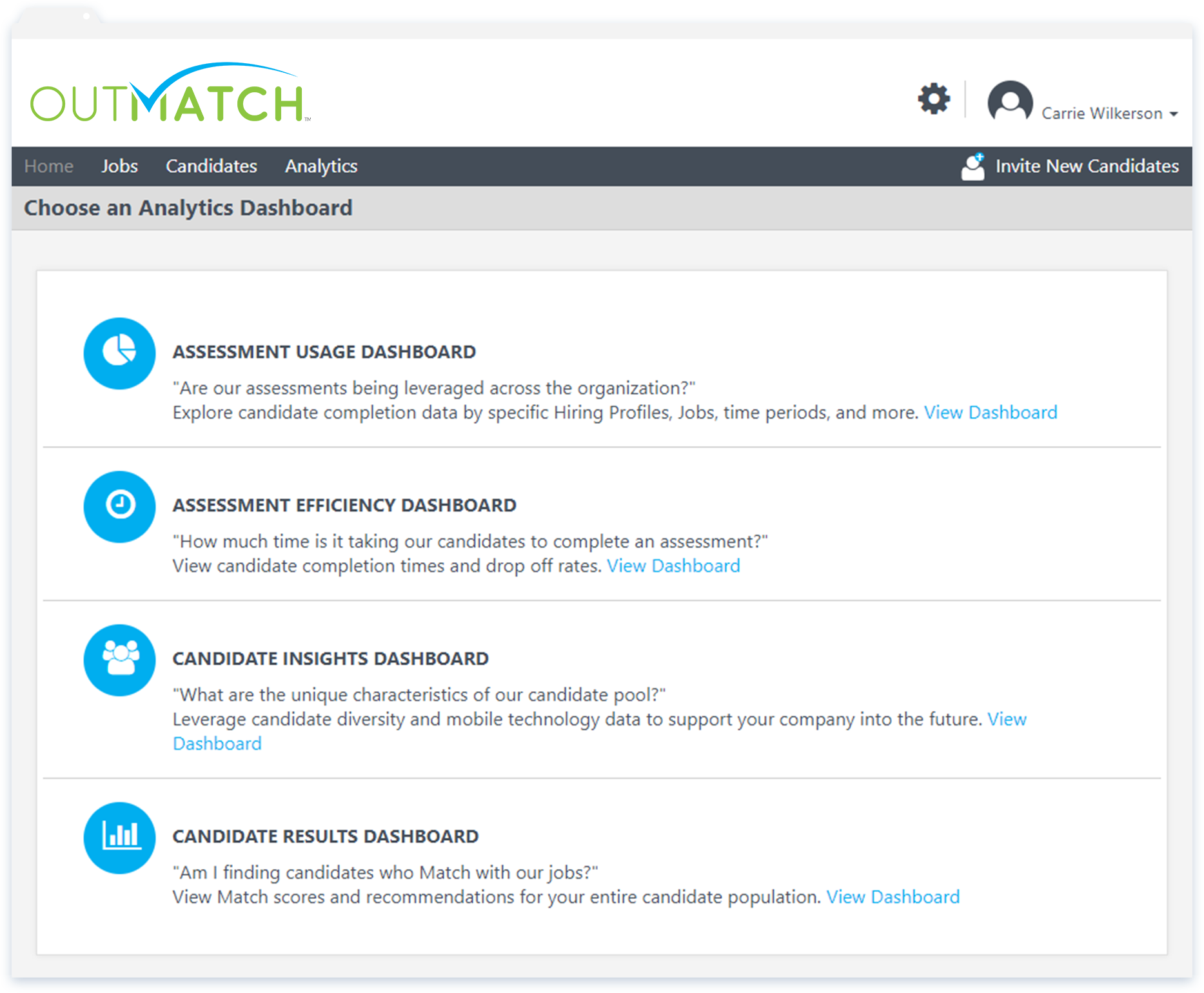 A number of pre-built analytics dashboards are available summarizing assessment usage and efficiency, plus candidate insights or results