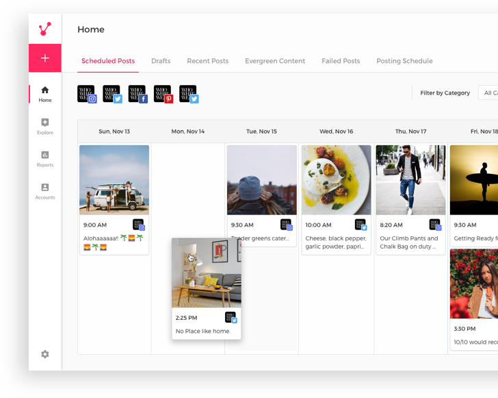 The social media calendar allows users to collaborate on post scheduling