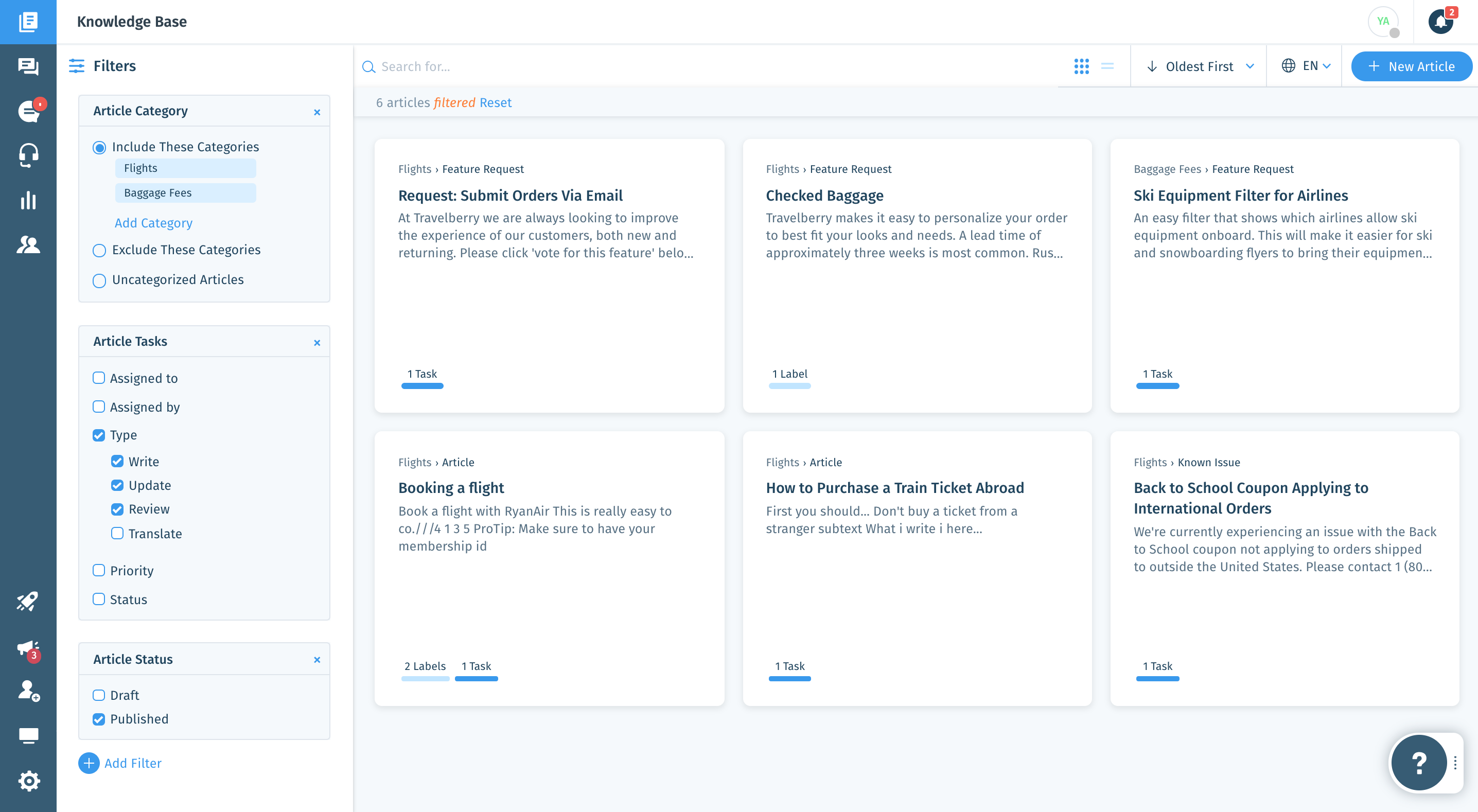 Knowledge Base Articles List: Easily create as many articles as needed, to support customers and internal teams. Optimize daily workflows with a clear view of the status of your content, and filter your view based on multiple criteria.