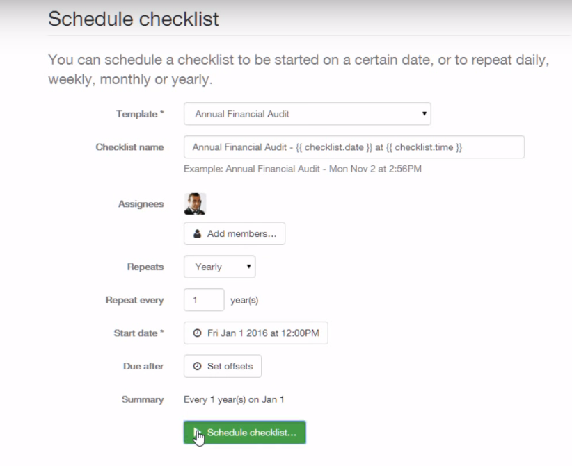 Process Street Software - Schedule checklist
