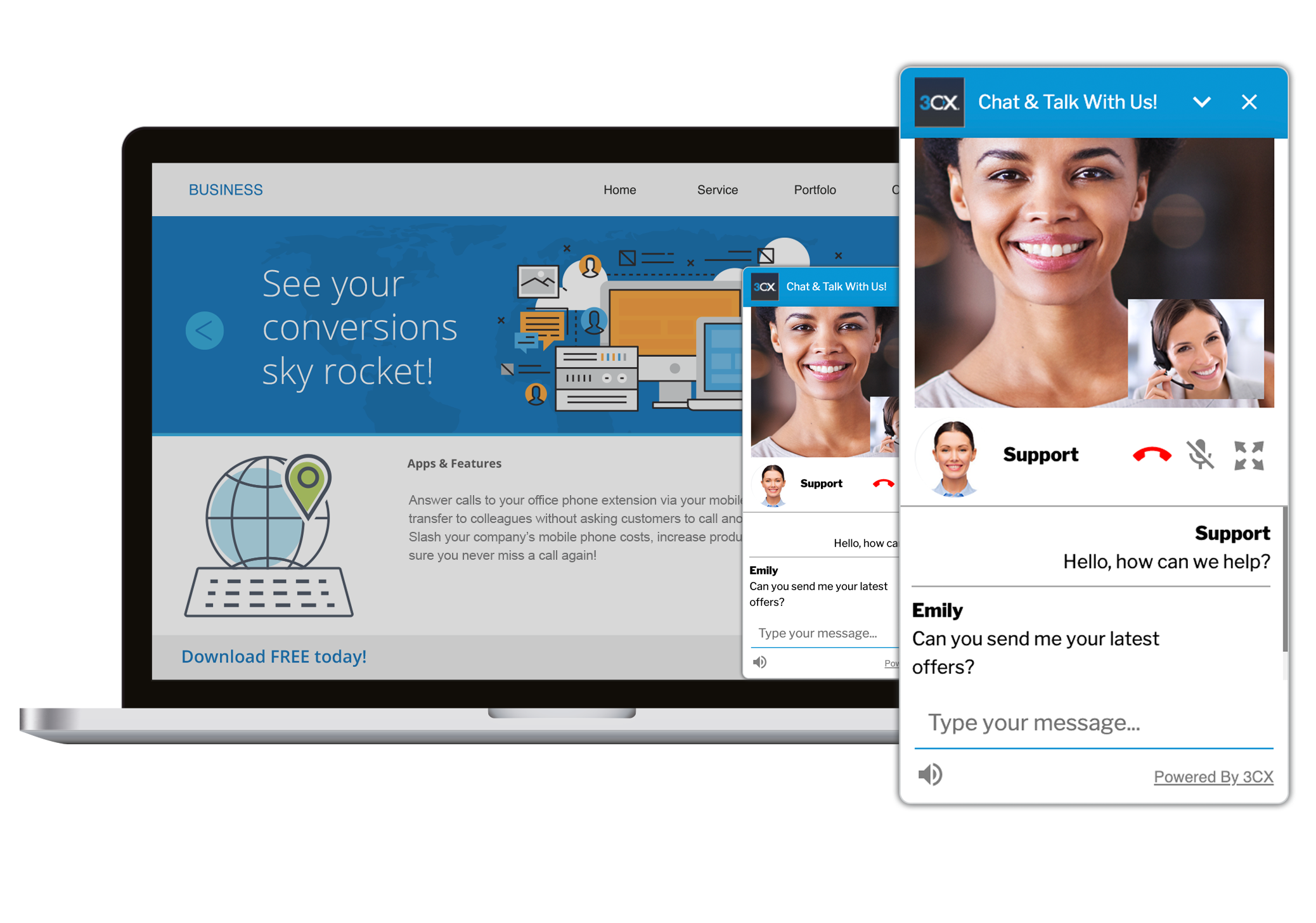 With 3CX WordPress Chat plugin you can quickly and easily add live chat support to your WordPress website.