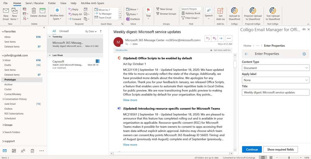 Colligo Email Manager for Microsoft 365 main interface