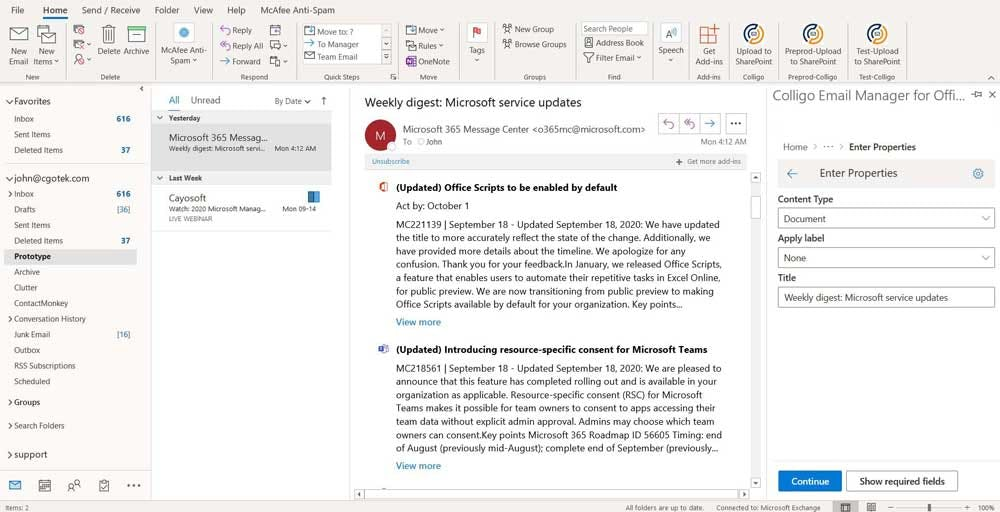 Email Manager for Microsoft 365 Software - Colligo Email Manager for Microsoft 365 main interface