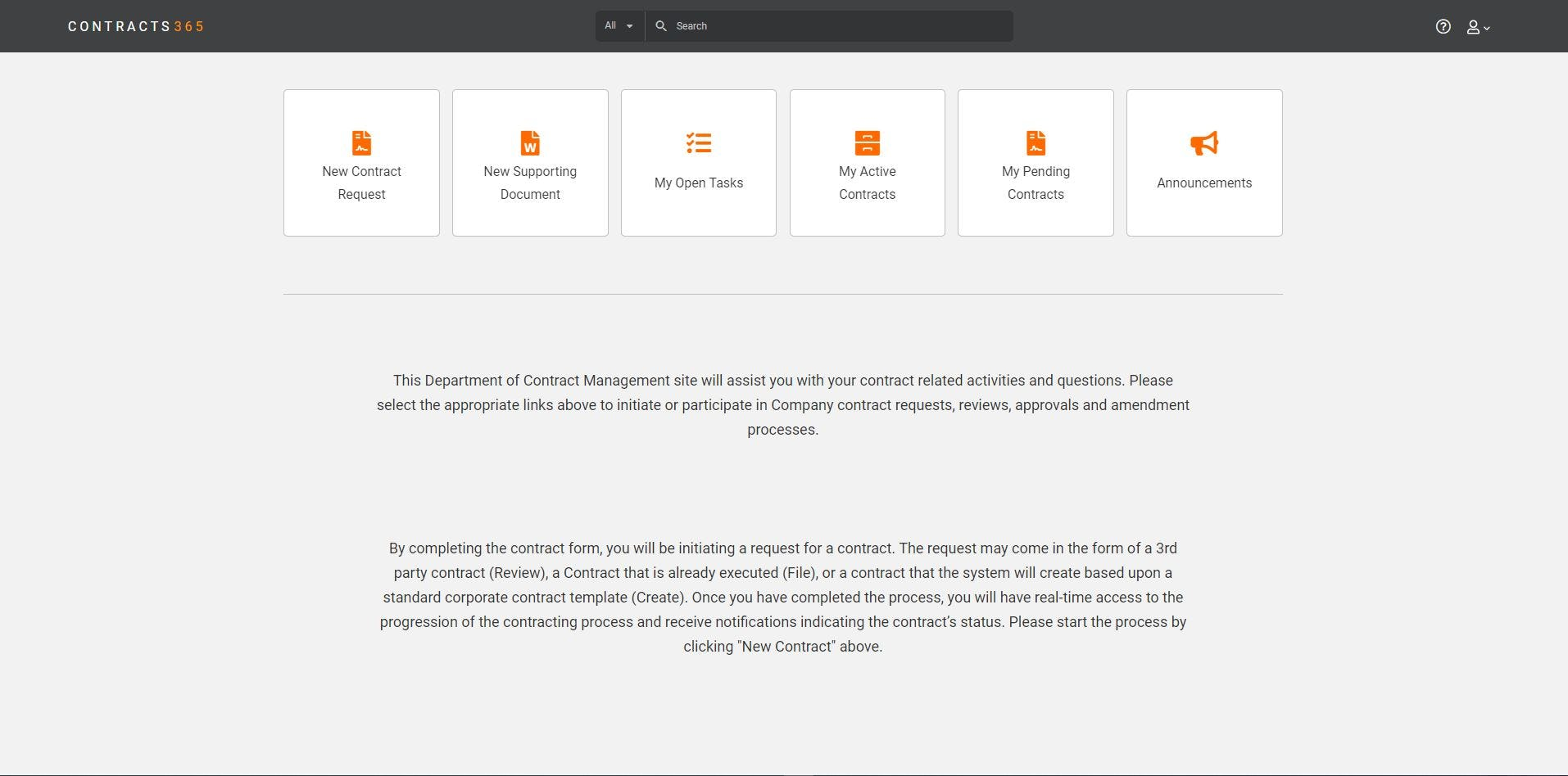 Corridor Contract Management Software - Business User Self Service Dashboard
