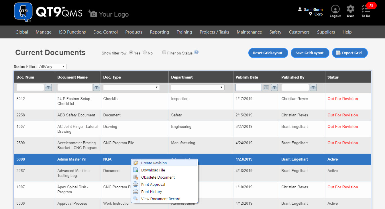 Document Control - Real-Time Management