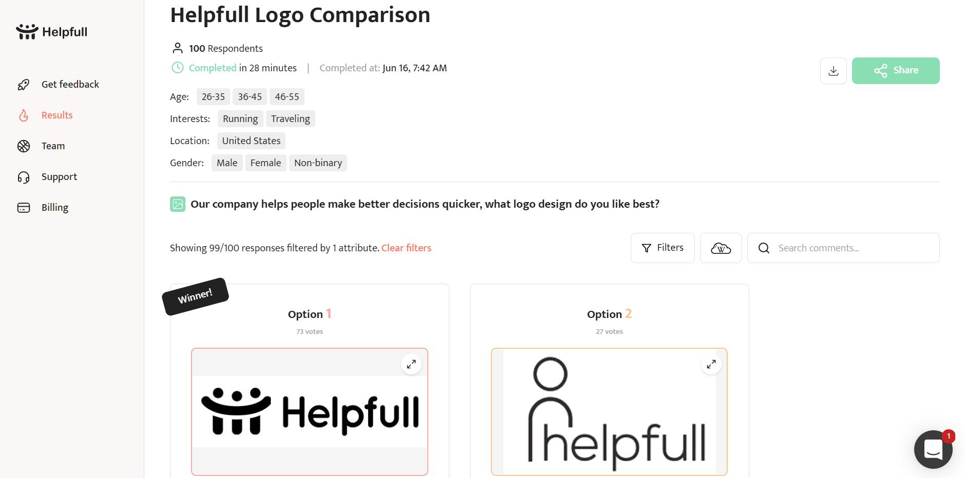 Logo survey comments & winner