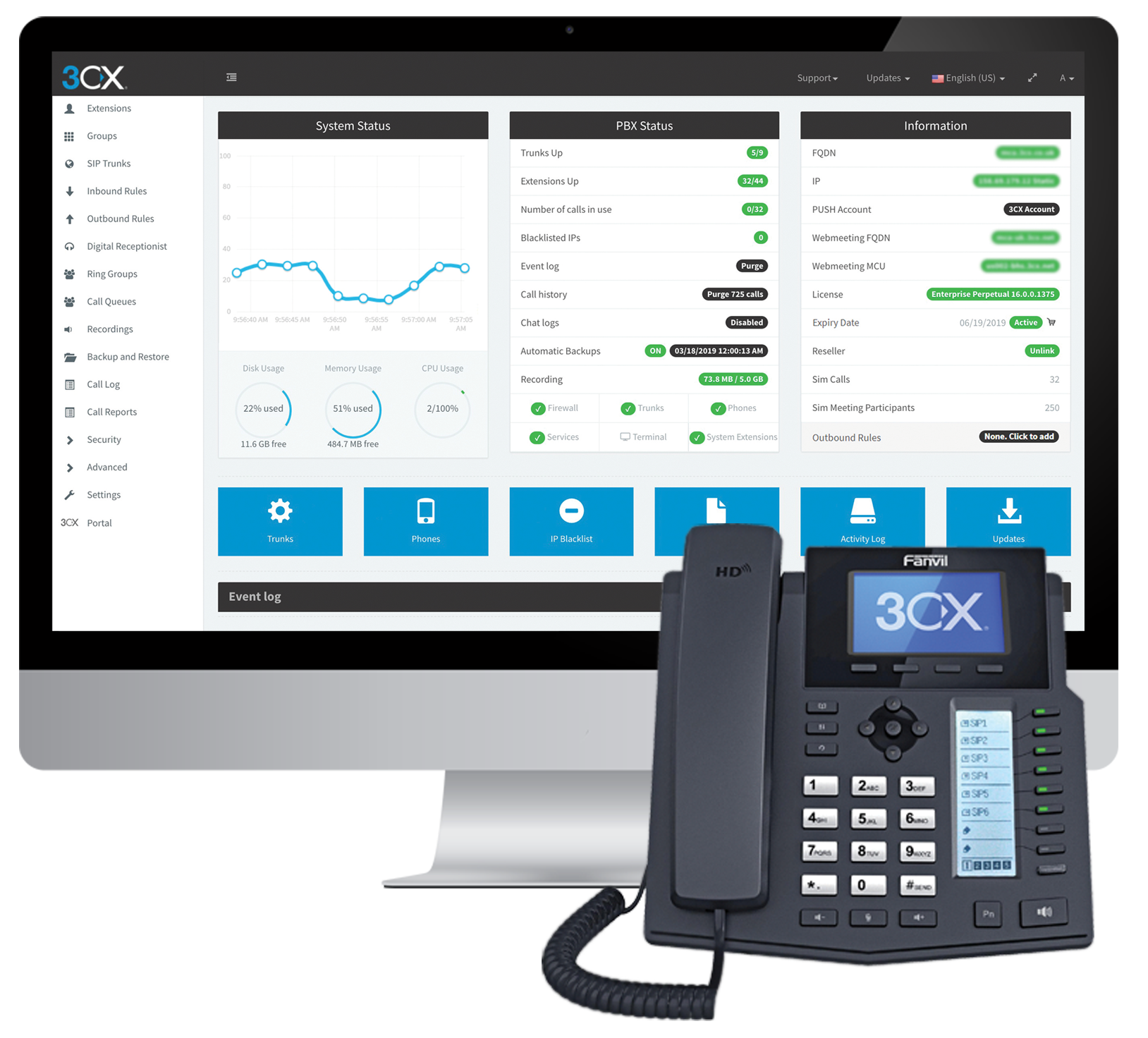 3CX's Unified Communications solution sets itself apart with its easy installation and management. Setup takes minutes; the phone system will run on-premise on an existing Windows or Linux machine and can be virtualized on Hyper-V, VMware or KVM.