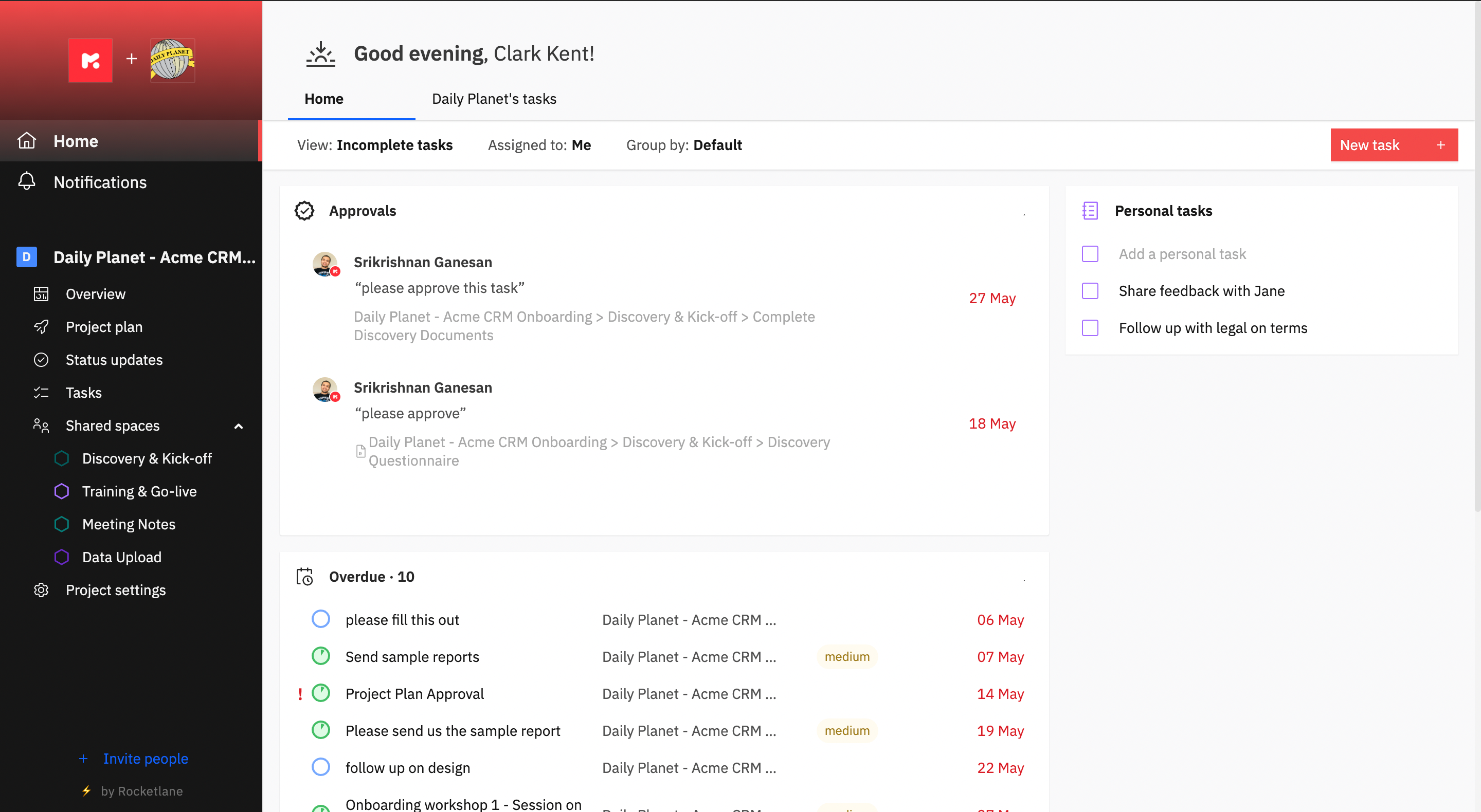 Rocketlane Software - All-in-one white-labeled client portal that combines project management, personal tasks, document collaboration, and messaging communication into a single modern experience that is easily accessible through magic links.