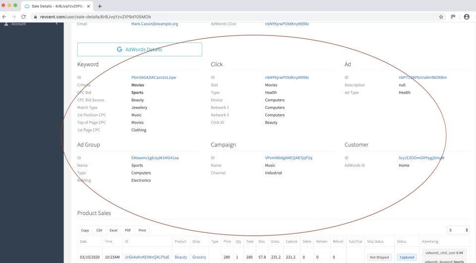 RevCent AdWords data