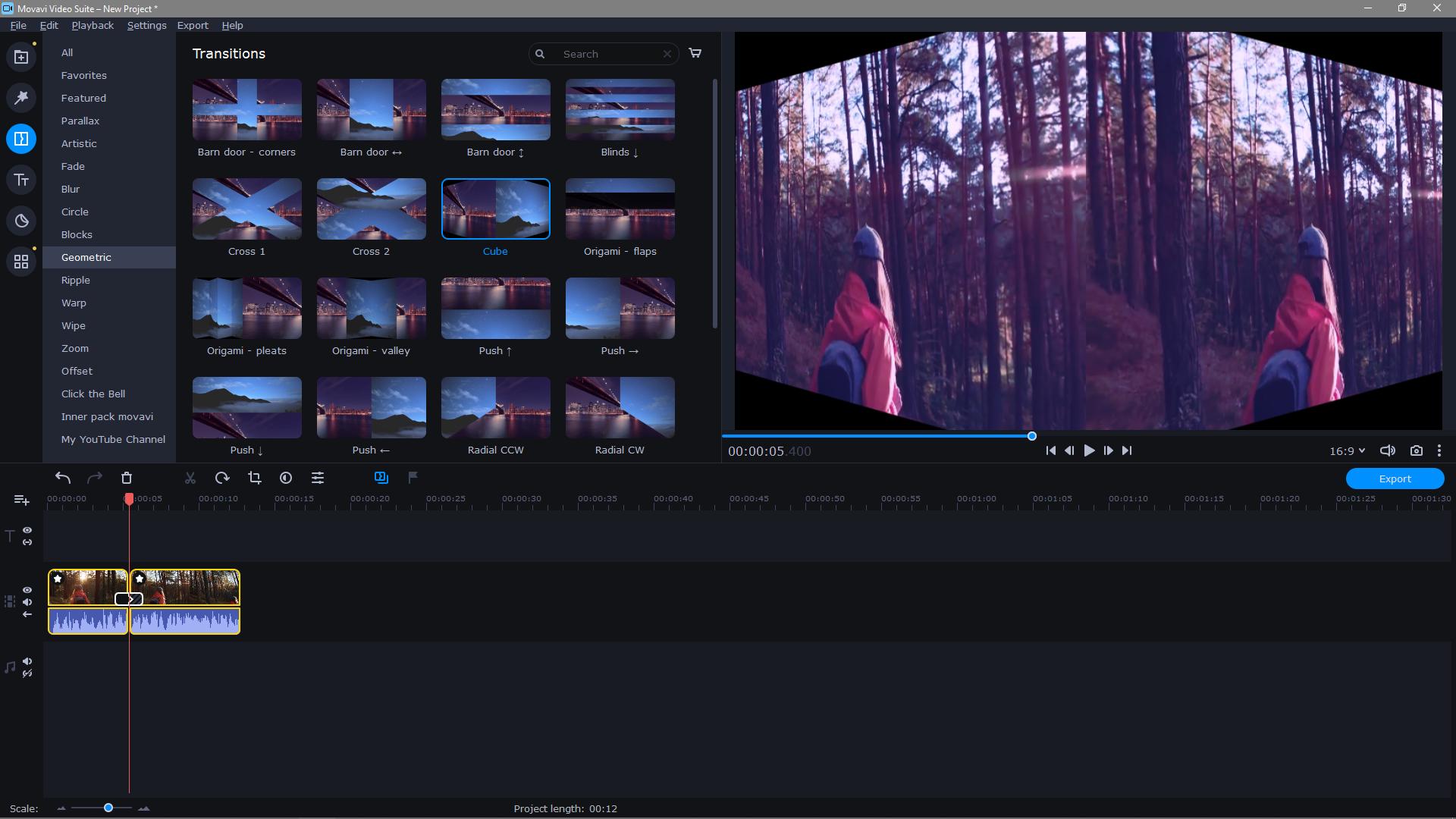 Movavi Video Editor Plus transition effects