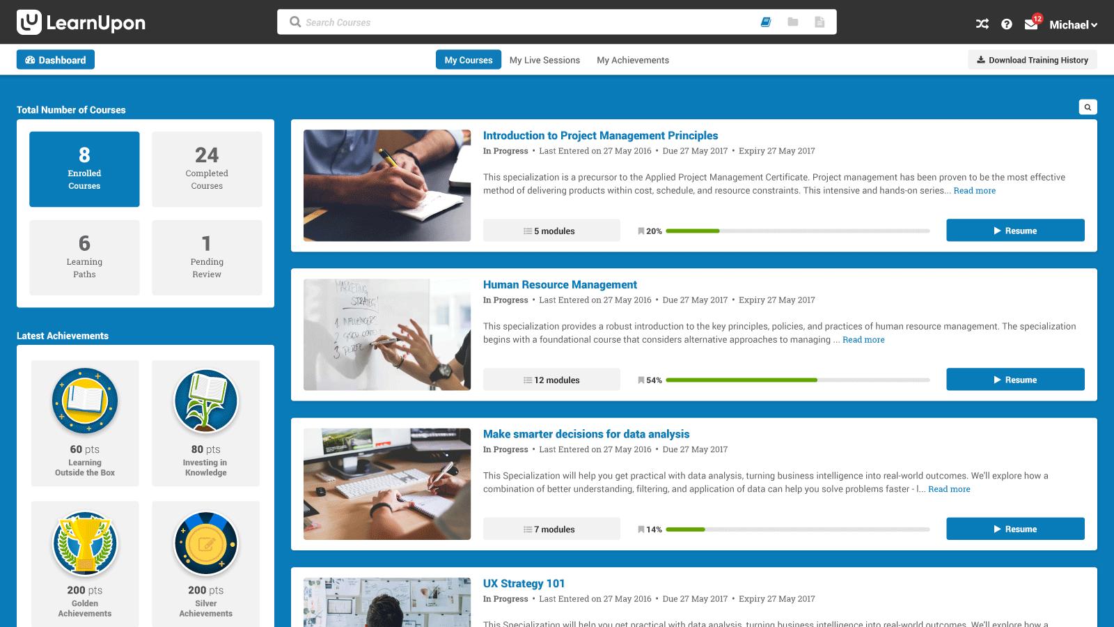 LearnUpon Software - LearnUpon dashboard