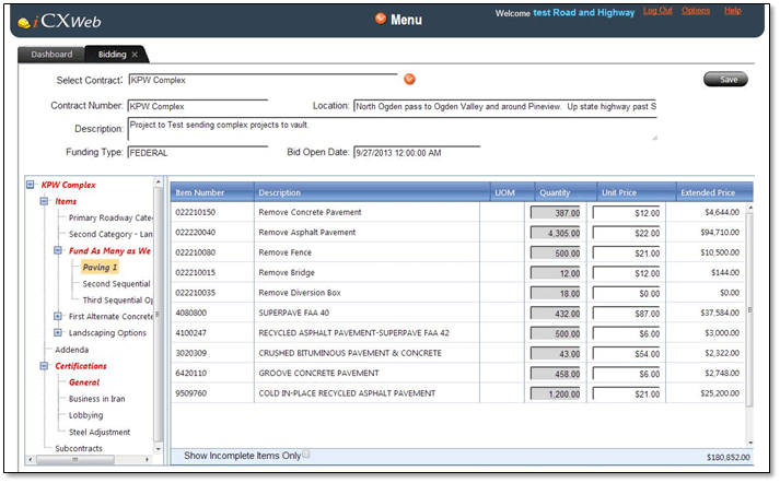 ExeVision offers contractor bid preparation & submission features using its iCXWeb solution