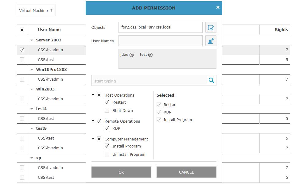Igiko Management Tools permissions