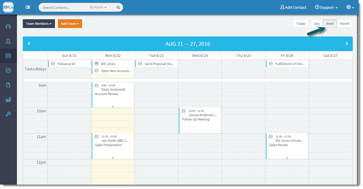 BigContacts Software - Track Meetings, Tasks and Birthdays with the Team Calendar