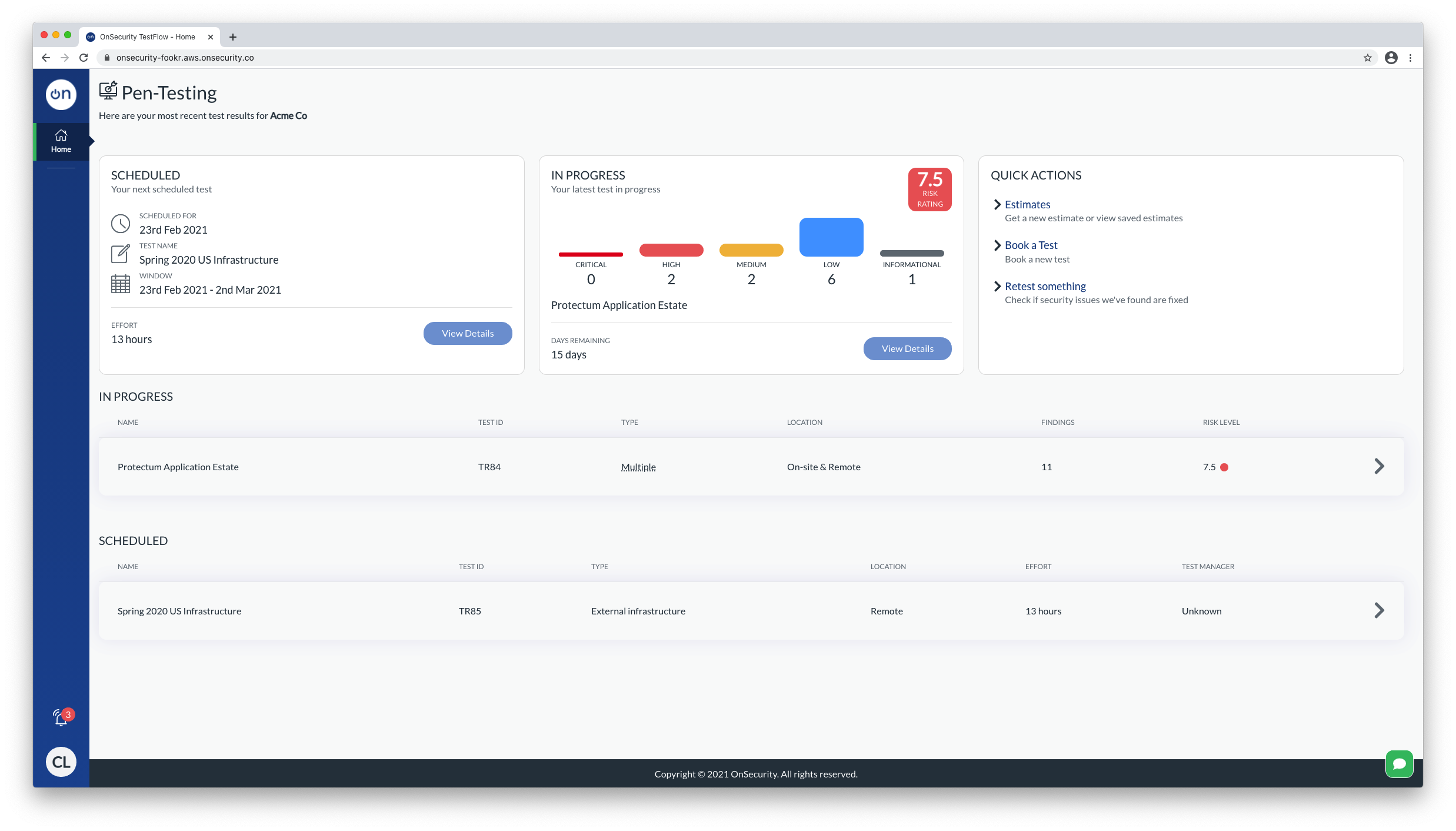 OnSecurity main interface