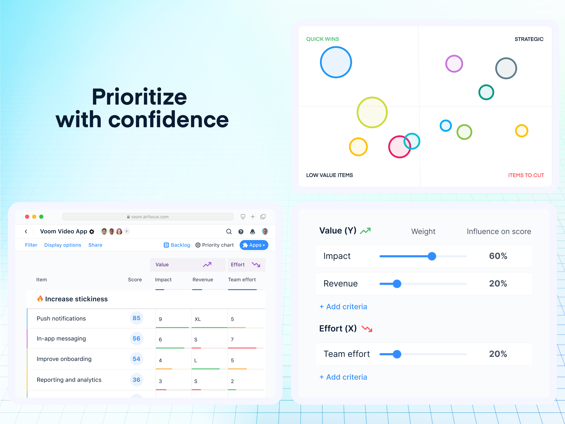 airfocus Software - Prioritize  with confidence: Turn decision-making into a transparent, collaborative process with clear prioritization that ties to your outcomes and objectives. Create and use your prioritization method of choice with easy-to-use, no nonsense data inputs.