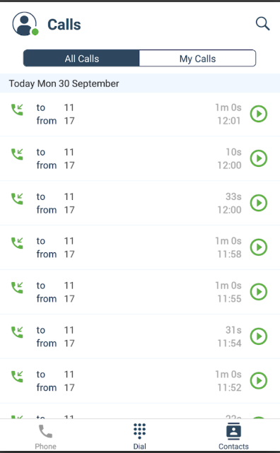 NUACOM Software - NUACOM call logs