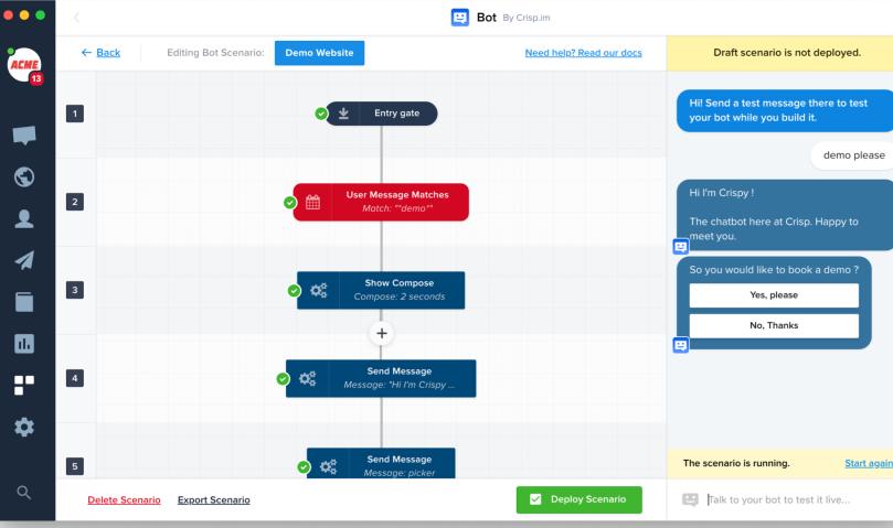 Crisp Software - Crisp chatbot scenarios