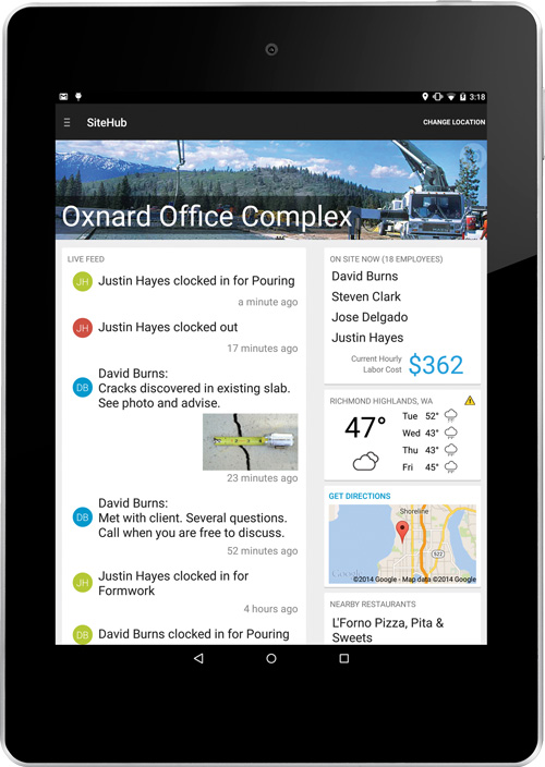 ExakTime Mobile's SiteHub facilitates mobile workforce management with job site oversights, live data feeds, weather forecasting, labor costs and more