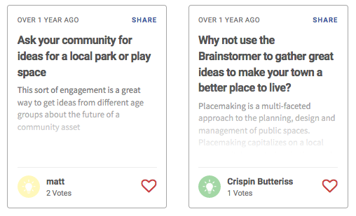 EngagementHQ Ideas aids online ideation with multiple idea walls per project, randomization for ideas, preset collation categories, social network sharing and integrated search