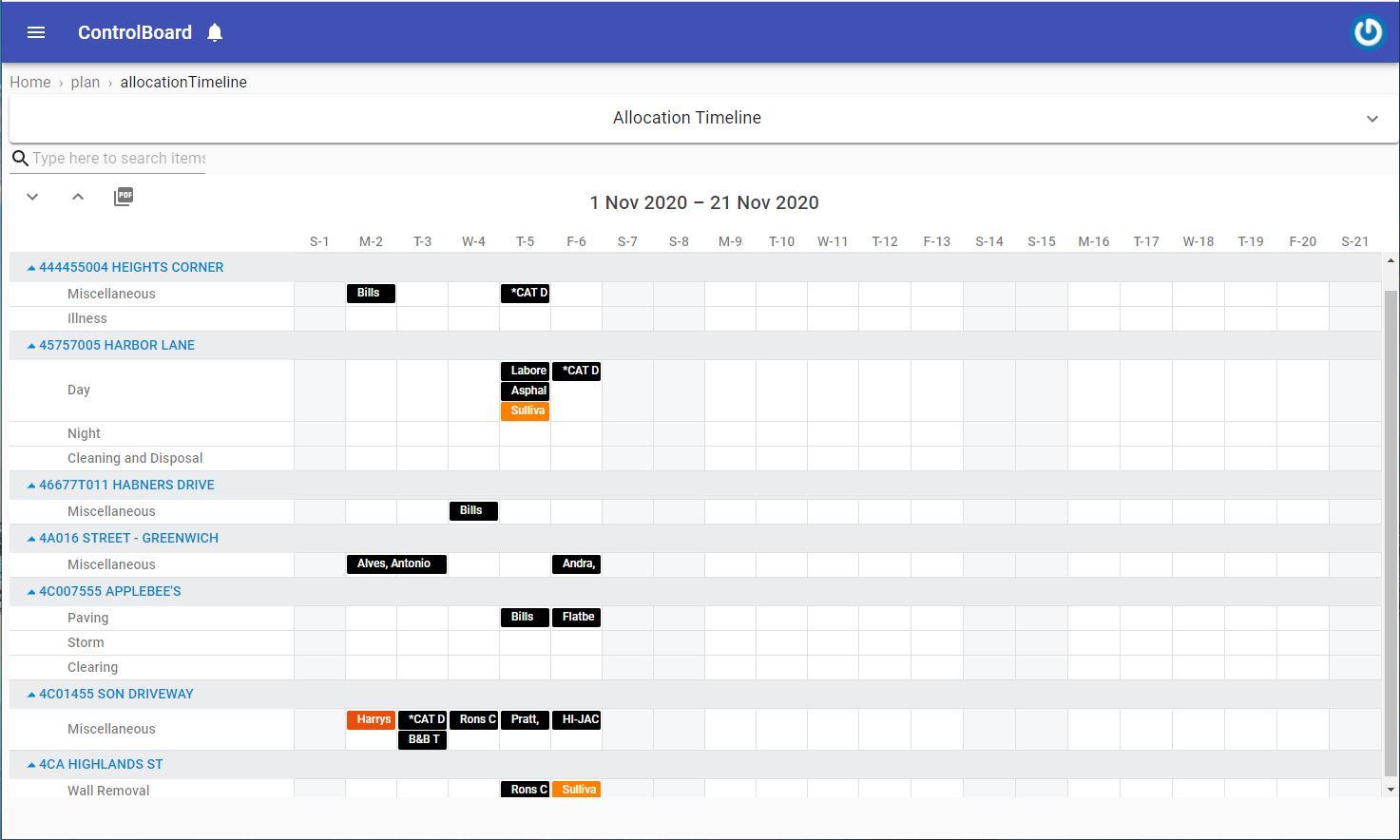 Crews Schedule
