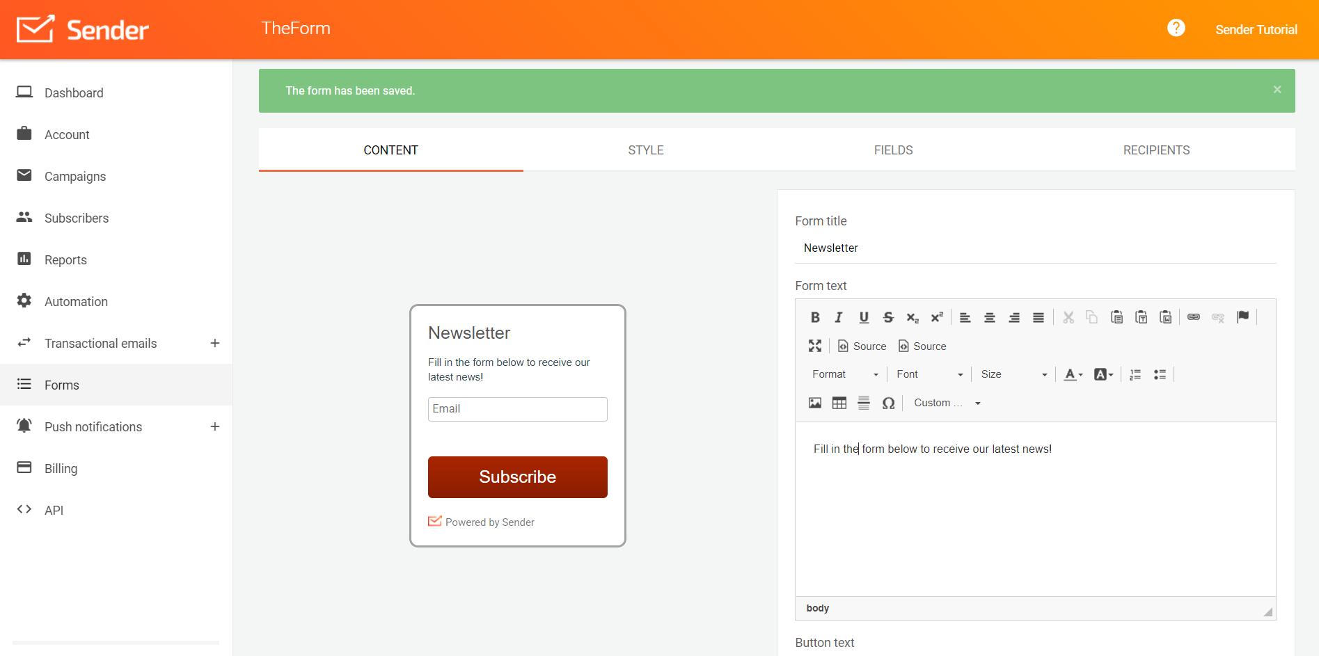 Configure forms