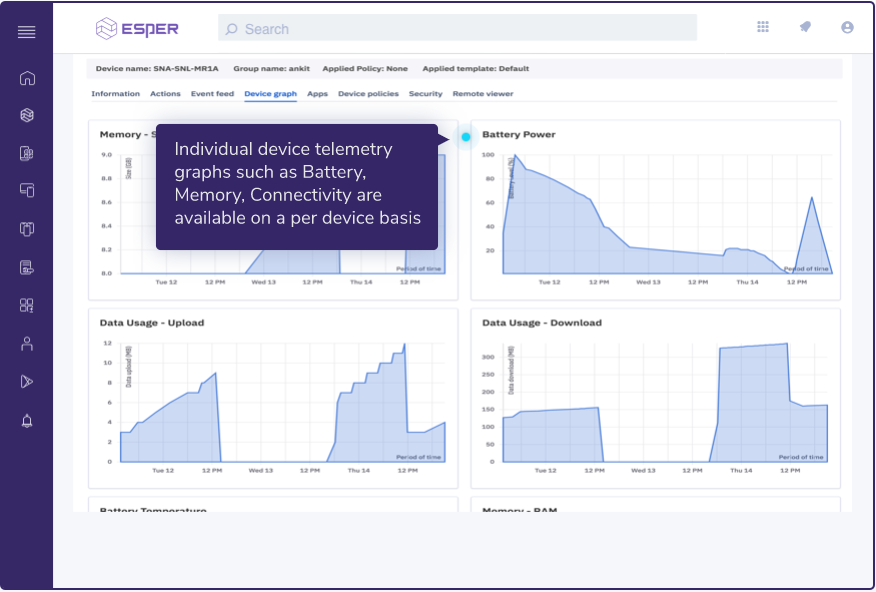 Esper screenshot: Esper: device monitoring screenshot