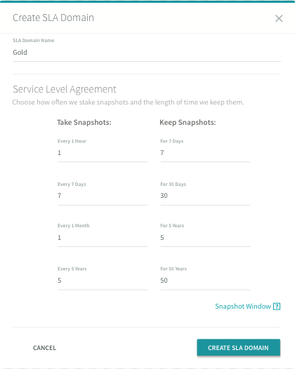 Rubrik gives users control over how frequently snapshots are taken, and how long they are stored