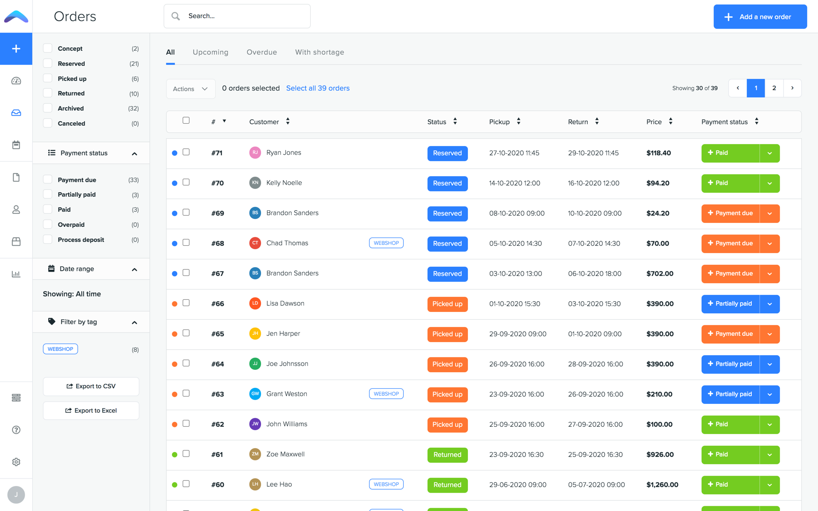 Create and manage orders in one place.