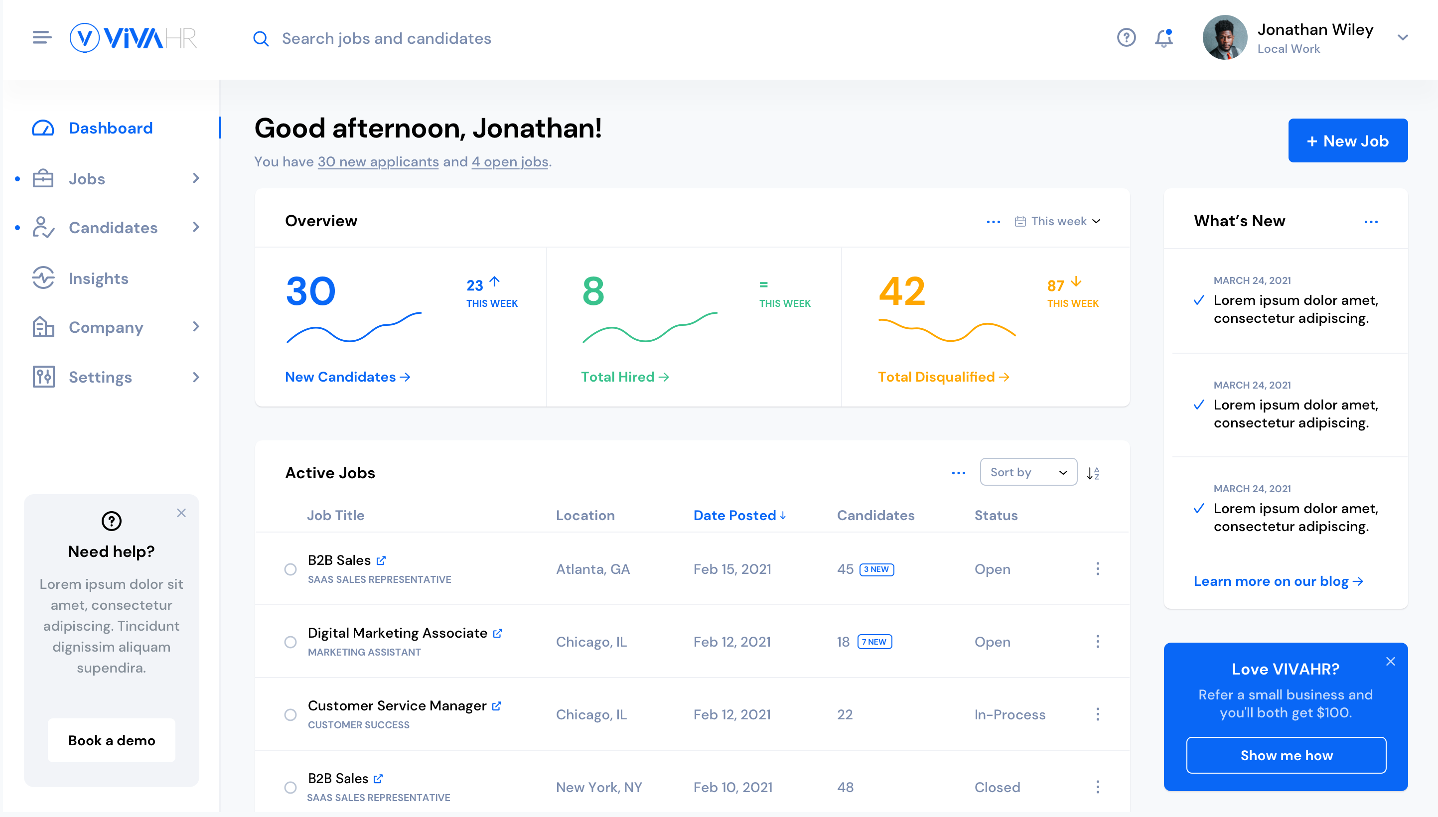 VIVAHR screenshot: Your next hiring dashboard. View all your hiring activity in one view.