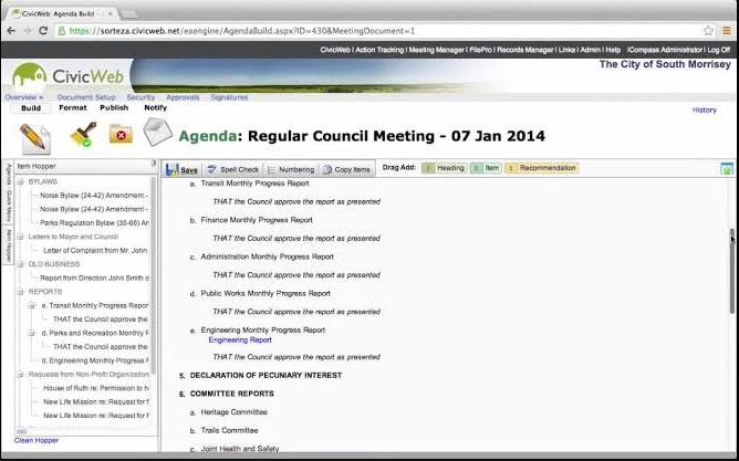 iCompass creating meeting agenda