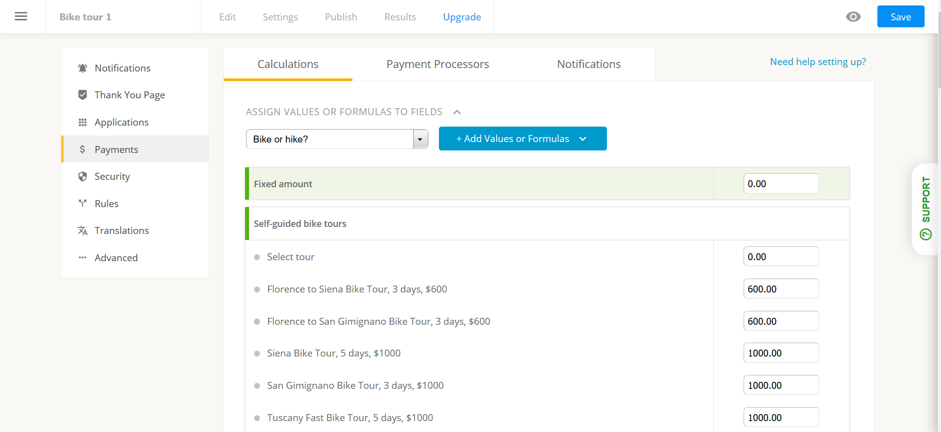 Collect payments: set fixed amounts or prices per options, create formulas, coupon codes, etc.