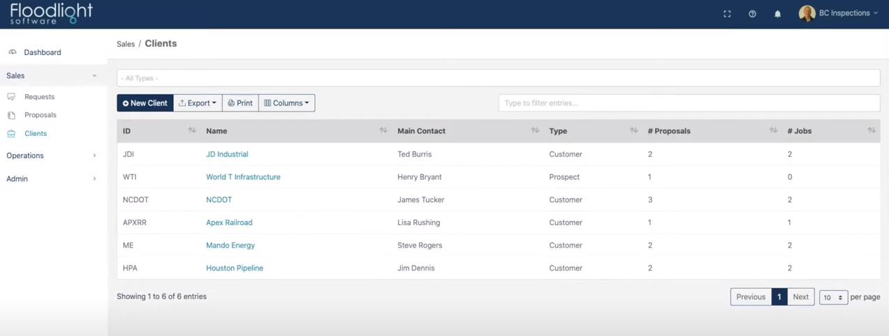 Floodlight Software client management