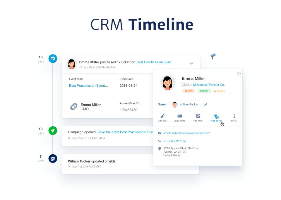EventBank CRM Timeline