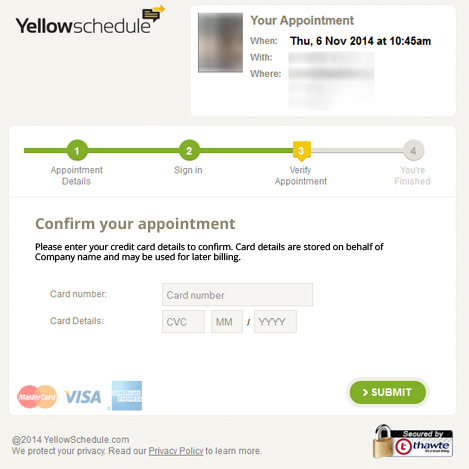 YellowSchedule booking card entry