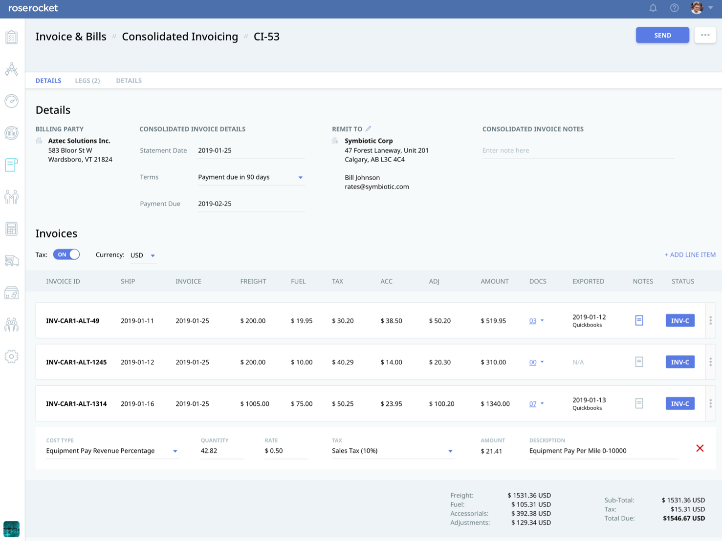 Rose Rocket Software - Send consolidated invoices