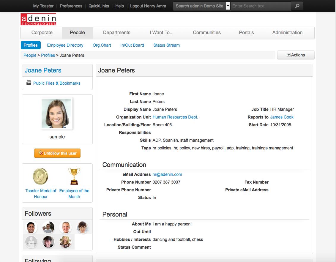 IntelliEnterprise User Profile