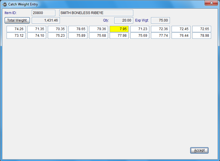 SR2Food Software - Catch Weight Entry Screen