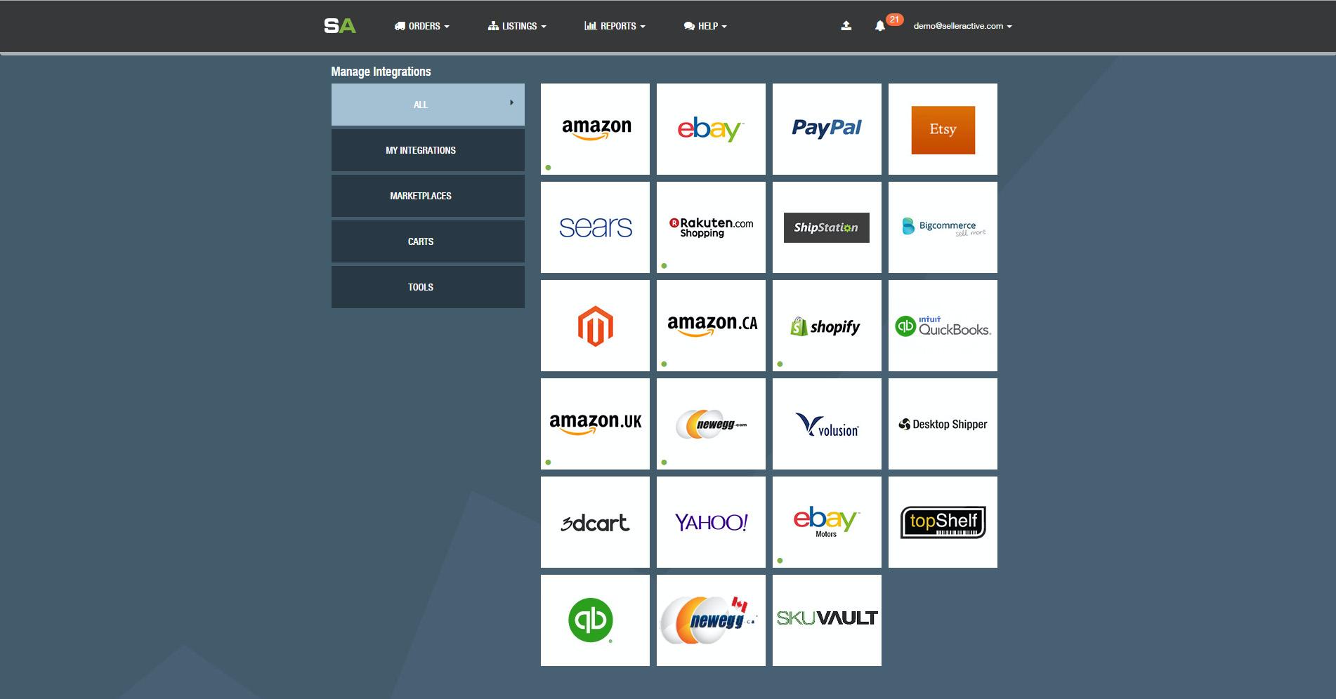 SellerActive screenshot: Integrations Page