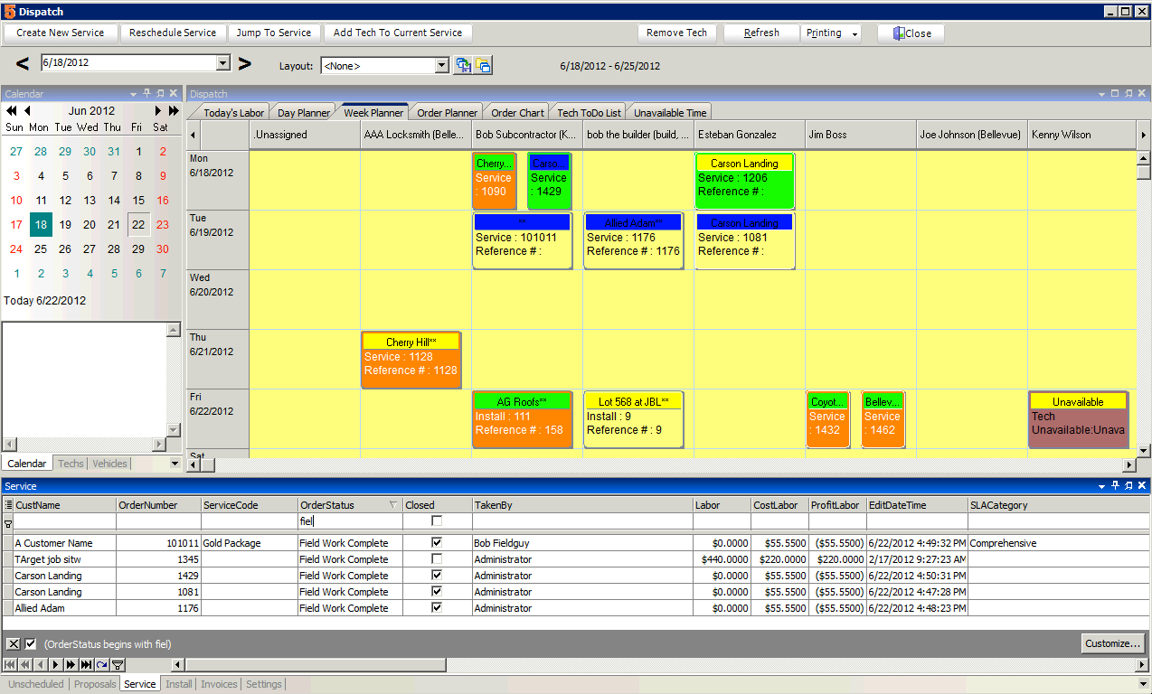 SME Complete provides a monthly calendar where users can scroll months and select a date to view scheduled and available time for technicians.