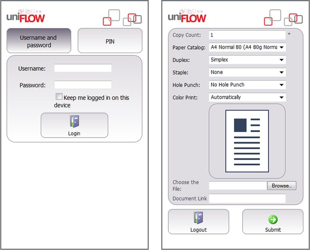 uniFLOW screenshot: uniFLOW mobile printing