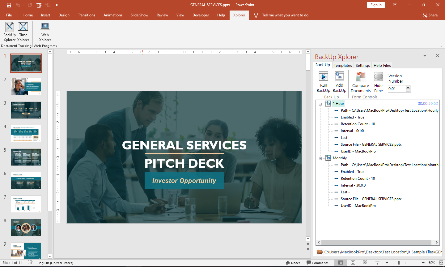 Task pane with Backup Xplorer shown in Microsoft PowerPoint.