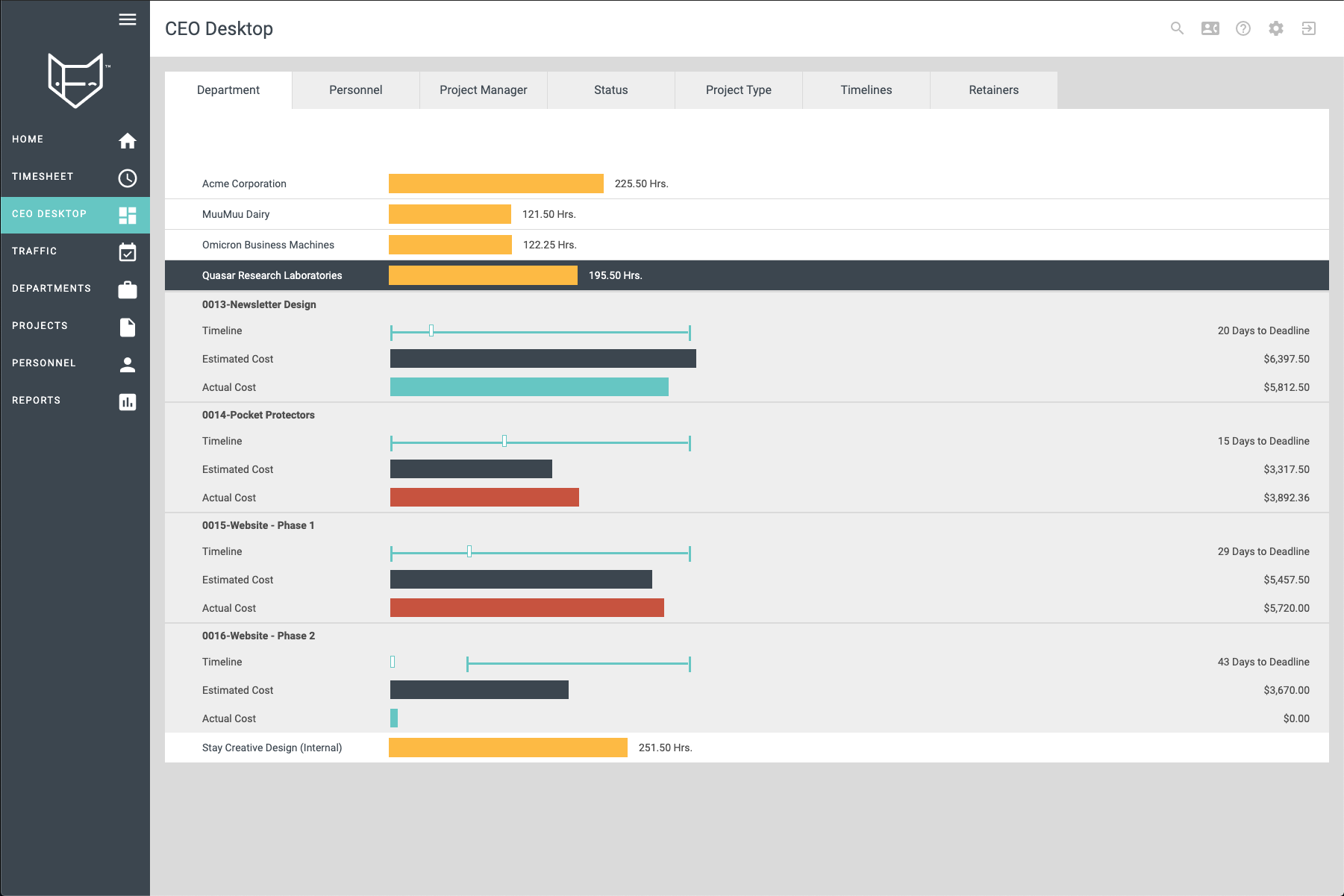FunctionFox Software - CEO Desktop: Dashboard views of your time, projects, and clients.