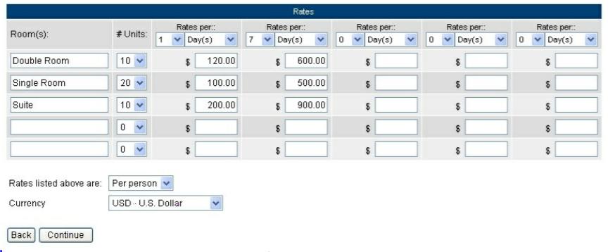WebReserv Software - WebReserv adding rates screenshot