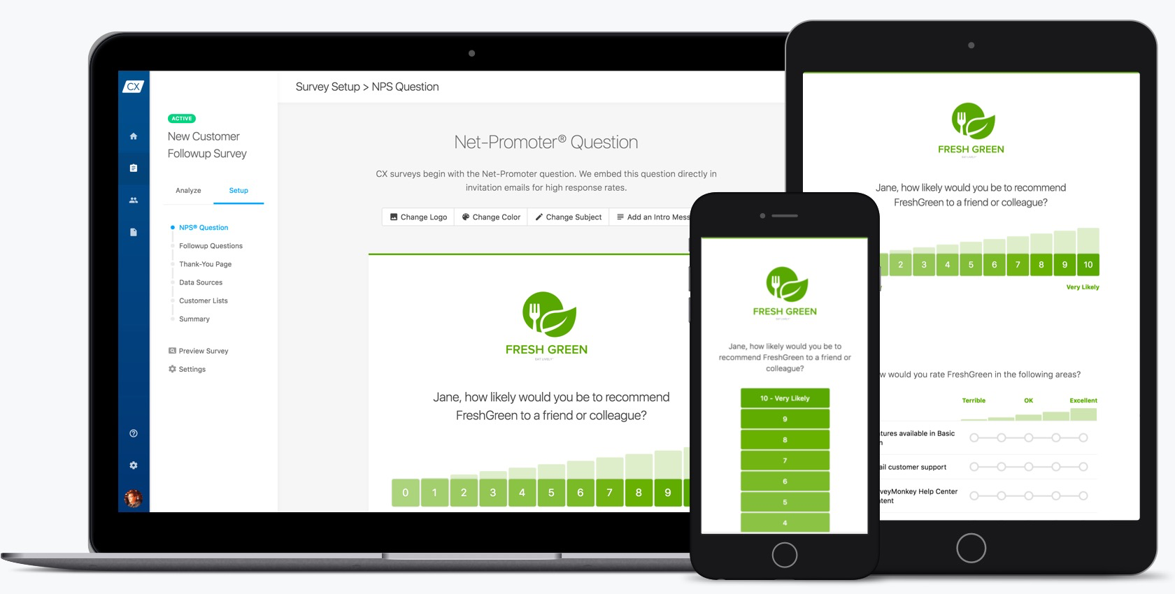 CX surveys are quick, clean, and branded for your business. Change colors, upload your logo, customize language, and edit questions in a fast and fun interface.