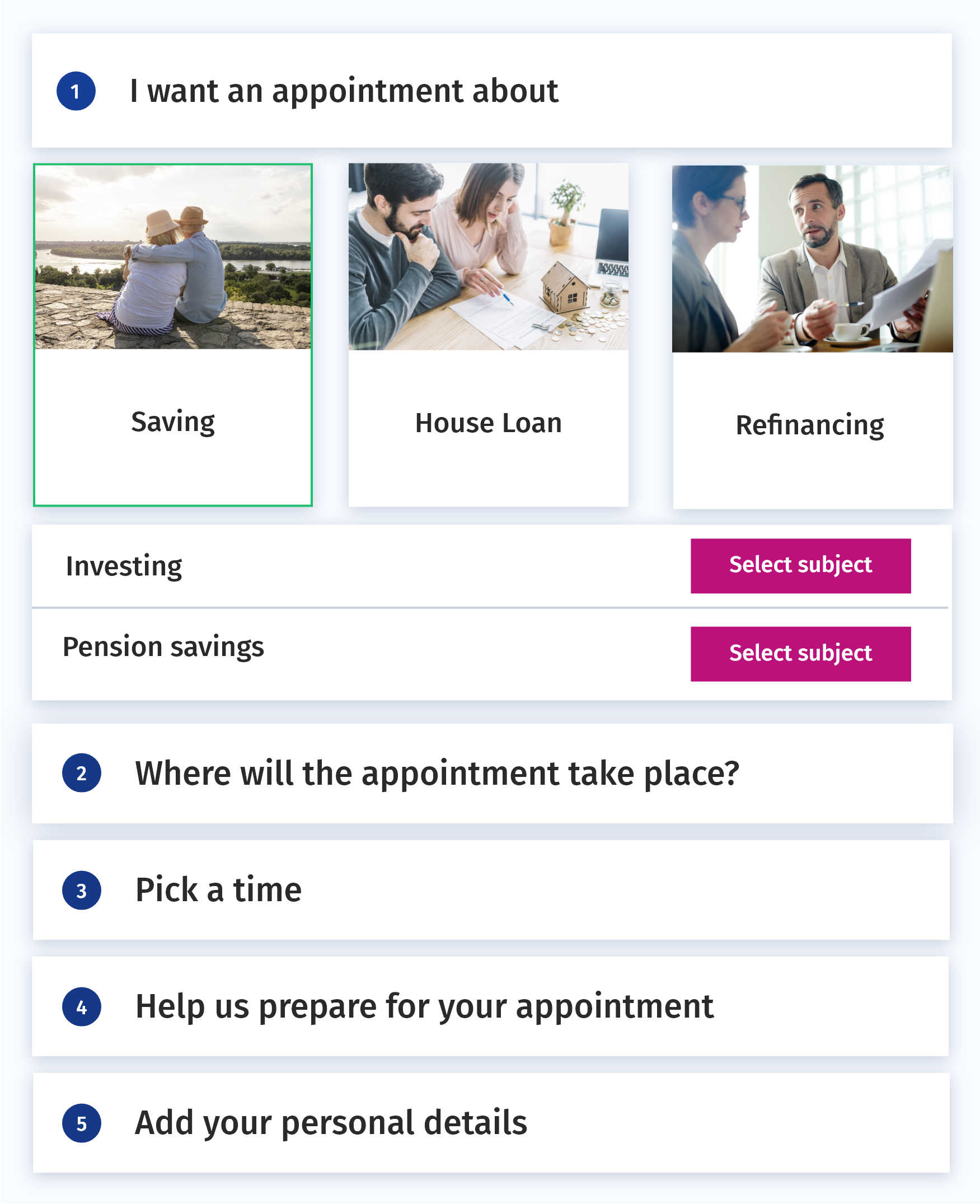 Skedify screenshot: Guide customers through simple scheduling steps to set up a meeting with the right expert, trough their prefered channel, at the most suitable time.