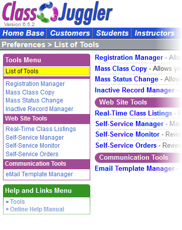 ClassJuggler Software - List of tools