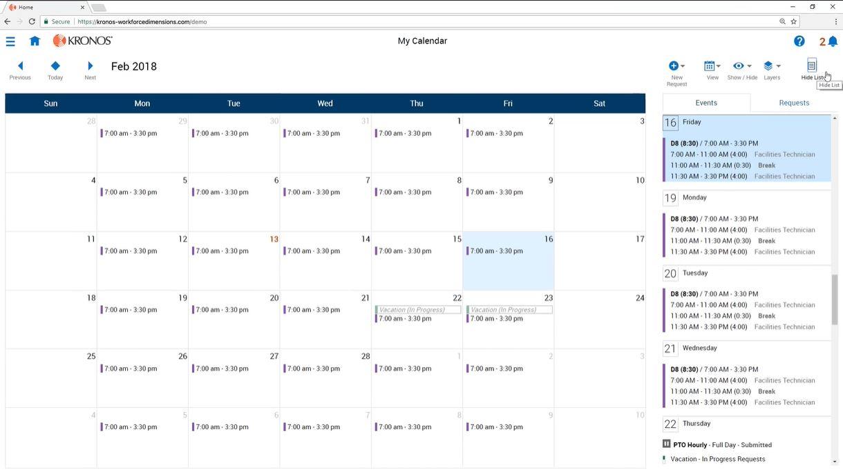 UKG Dimensions calendar